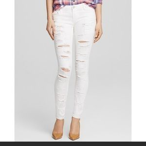 Blank NYC White Distressed Skinny Jeans 27